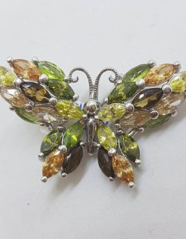 Sterling Silver Multi-Coloured Large Cubic Zirconia Butterfly Brooch - Green, Brown, Yellow, Orange