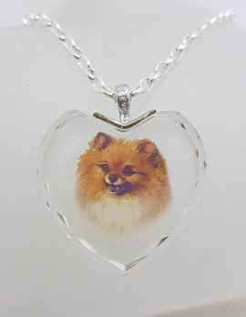 Sterling Silver Pomeranian Dog in Crystal Heart Pendant on Silver Chain