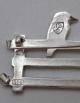 Sterling Silver Large Australian Kookaburra on a Gate / Fence Brooch - Australiana