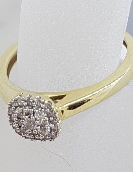 10ct Yellow Gold Square / Round Cluster Diamond Ring