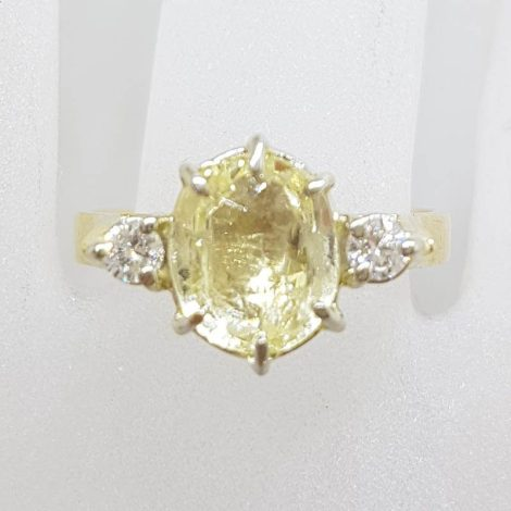 18ct Yellow Gold Oval Citrine with 2 Diamonds High Set Trilogy Ring - Antique / Vintage