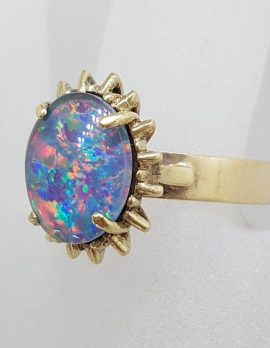 9ct Yellow Gold Oval Blue Opal Triplet Ring with Spikey Border - Antique / Vintage