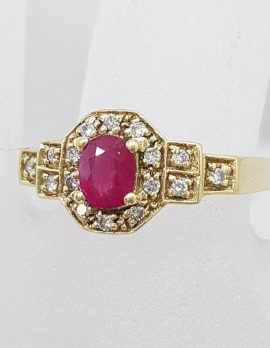 * SOLD * 14ct Yellow Gold Oval Natural Ruby in Octagonal Setting Surrounded by Diamonds
