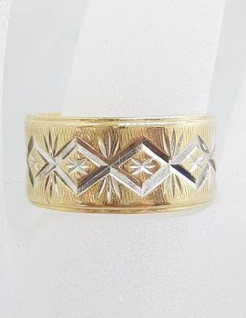 9ct Yellow Gold Wide Patterned Wedding Band / Band Ring - Antique / Vintage