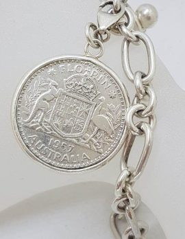 Sterling Silver Chunky Bracelet with Large Florin 1957 Australia Coin Medallion Charm