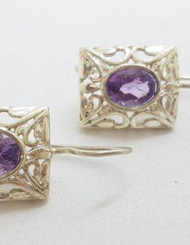 * SOLD * Sterling Silver Oval Amethyst in Rectangular Filigree Setting - Earrings