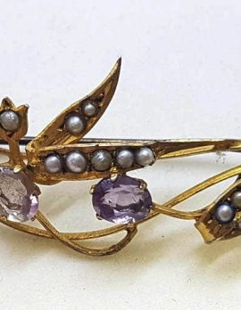 9ct Yellow Gold Seedpearl and Amethyst Leaf and Lily of the Valley Brooch - Antique / Vintage