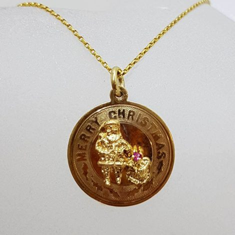 9ct Yellow Gold Round Merry Christmas with Gems Pendant on Gold Chain - Santa Claus / Father Christmas with Bag of Gifts