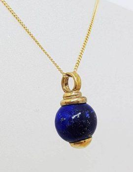 9ct Yellow Gold Lapis Lazuli Ball Pendant on Gold Chain