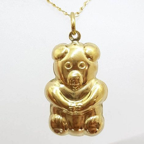 9ct Yellow Gold Puffy Teddy Bear Pendant on Gold Chain