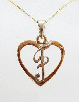 9ct Rose Gold and Sterling Silver Initial / Letter F in Heart Pendant on Gold Chain
