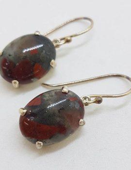 789Sterling Silver Oval Claw Set Large Dragon Blood Jasper Drop Earrings