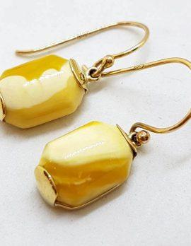 9ct Yellow Gold Rectangular Natural Baltic Butter Amber Drop Earrings