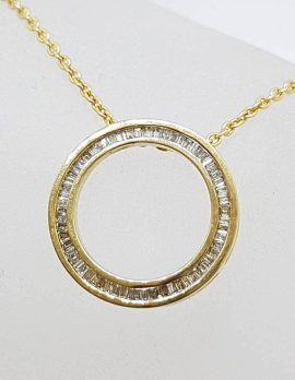 9ct Yellow Gold Circle of Life Channel Set Round Ring Diamond Pendant on Gold Chain