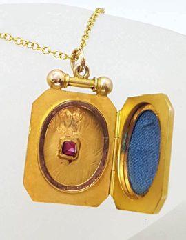 9ct Rose Gold Large Rectangular / Octagonal Locket with Garnet on Gold Chain - Antique / Vintage