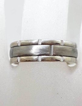 9ct White Gold With Titanium Wedding Band Ring - Gents / Ladies