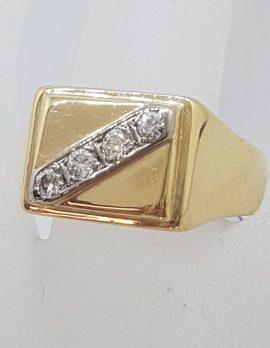 9ct Yellow Gold Large Rectangular Signet Ring set with Four Diamond Ring - Gents Ring / Ladies Ring - Antique / Vintage