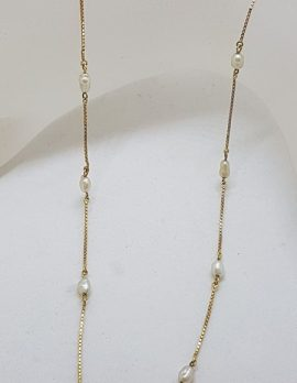 9ct Yellow Gold Dainty Pearl Necklace / Chain