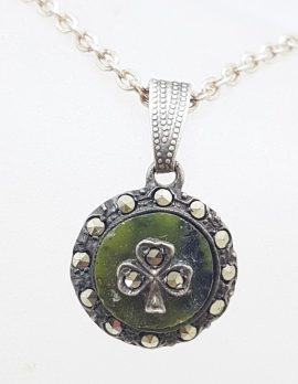 Sterling Silver Scottish Agate and Marcasite Round Shamrock Pendant on Silver Chain - Antique / Vintage