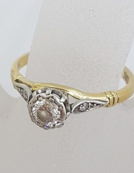 18ct Yellow Gold and White Gold Ornate Design High Set Solitaire Engagement Ring / Dress Ring - Antique / Vintage