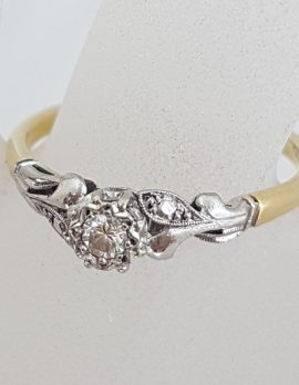 18ct Yellow Gold and White Gold Ornate Design Solitaire Engagement Ring / Dress Ring - Antique / Vintage