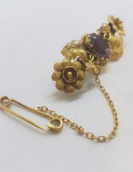 15ct Yellow Gold Ornate Floral Design Goldfields Jewellery Brooch set with an Oval Amethyst - Antique / Vintage