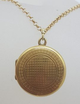 9ct Yellow Gold Round Locket with Pattern on Gold Chain - Antique / Vintage