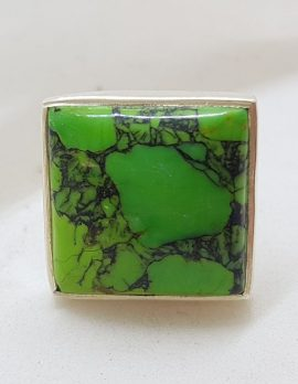 Sterling Silver Large Green Turquoise Rings - Available in Square and Round