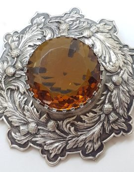 Plated Very Large Scottish Highland Kilt Brooch with Yellow Faux Cairngorm Stone - Vintage Costume Jewellery