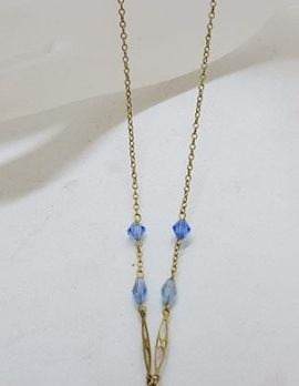Plated Blue Paste Ornate Necklace / Chain - Vintage Costume Jewellery