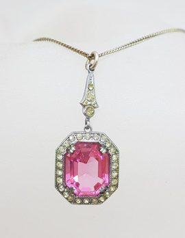 Plated Pink Stone Art Deco Style Rhinestone Pendant on Chain - Vintage Costume Jewellery