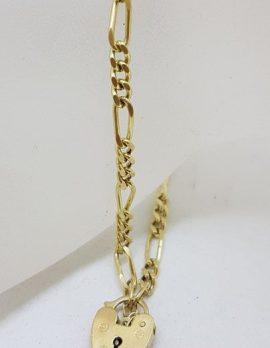 9ct Yellow Gold Figaro Link Padlock Bracelet