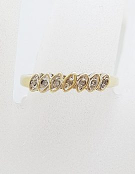 9ct Yellow Gold Diamond Leaves Eternity Ring / Band