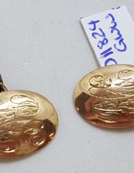 9ct Rose Gold Oval Monogrammed Engraved Cufflinks - Antique / Vintage