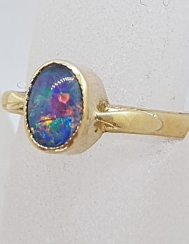 9ct Yellow Gold Oval Opal Triplet Ring - Antique / Vintage