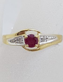 9ct Yellow Gold Round Natural Ruby with Diamond Ring