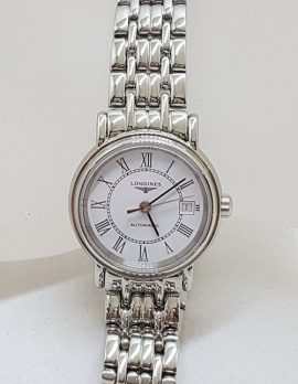 Longines Ladies Watch in Box - PRESENCE COLLECTION - Swiss Made - 25 Jewels - White Dial / Face with Roman Numerals -