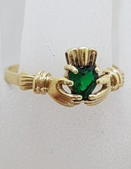9ct Yellow Gold Green Heart Claddagh Ring - Vintage