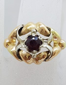 18ct Yellow Gold and White Gold Ornate Large Ring with Garnet - Antique / Vintage