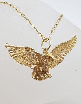 9ct Yellow Gold Soaring Eagle Pendant on Gold Chain - Harley Davidson Style