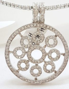 Plated with Swarovski Crystal Shimmer and Glitz Large Round with Circles Pendant on Choker Chain / Necklace - Wedding / Debutante / Special Occasion