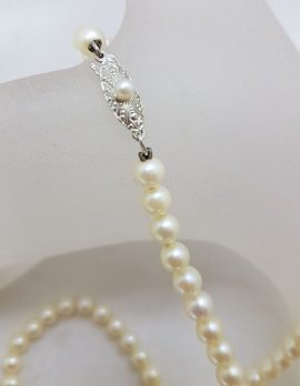 Sterling Silver Mikimoto Pearl Strand Necklace / Chain - Antique / Vintage