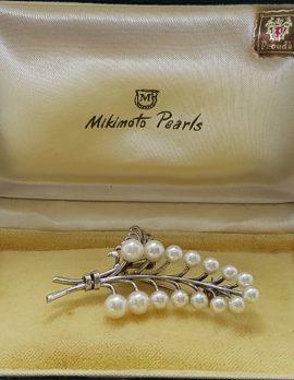 Sterling Silver Mikimoto Pearl Large Ornate Leaf Shape Brooch - Antique / Vintage