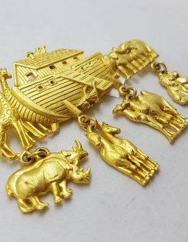 Plated Large Noahs Ark Brooch - Vintage
