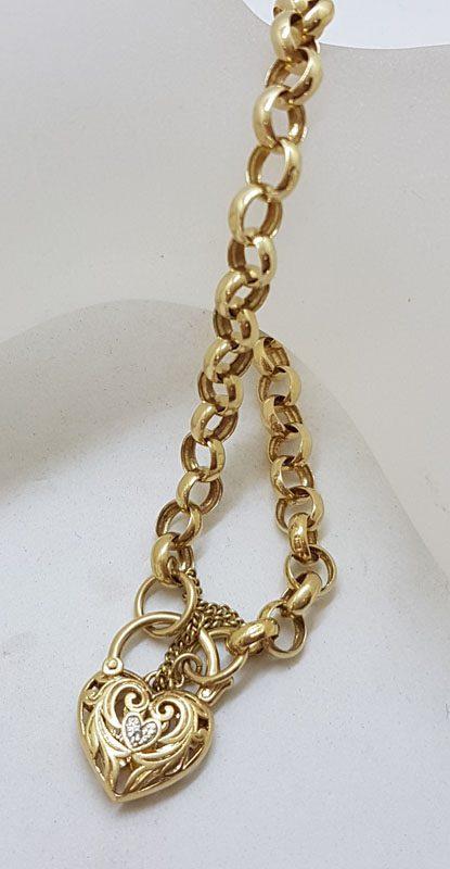 9ct Yellow Gold Belcher Link Bracelet Ornate Diamond Heart Shaped Padlock Clasp