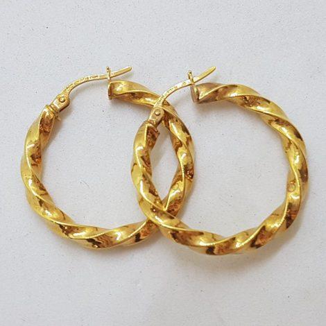 9ct Yellow Gold Twist Patterned Hoop Earrings