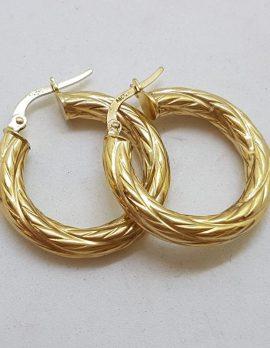 9ct Yellow Gold Patterned Hoop Earrings