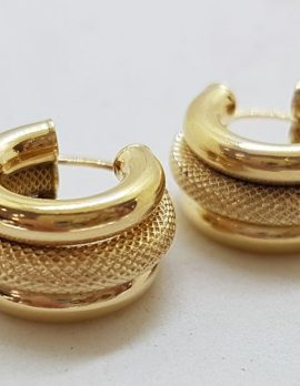 9ct Yellow Gold Patterned and Plain Wide Hoop Earrings