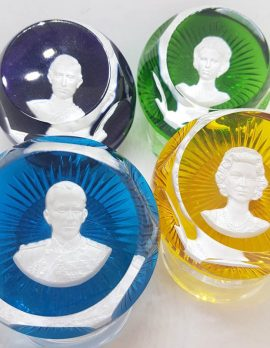 Set of 4 French Baccarat Crystal Royal Paperweights - Queen, Prince Philip, Prince Charles and Princess Anne - Yellow, Blue, Green and Purple