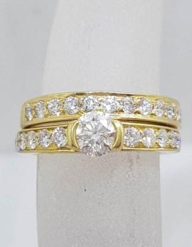 18ct Yellow Gold Diamond Engagement Ring with Matching Wedding Band Set